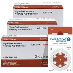 Batteries everActive ULTRASONIC - type 312 (PR41) 3x BOX (180 pcs)
