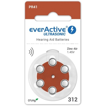 Batteries everActive ULTRASONIC - type 312 MF (PR41) blister (6 pcs)