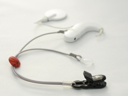 CLIP-ON HOOKS FOR PROCESSORS / HEARING AIDS - GREY WITH BASKETBALL