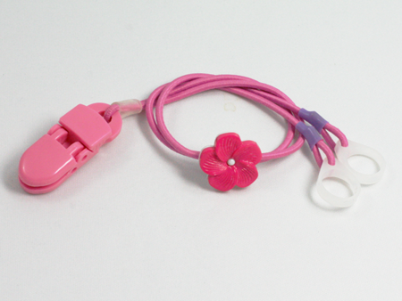 CLIP-ON HOOKS FOR PROCESSORS / HEARING AIDS - PINK WITH FLOWER