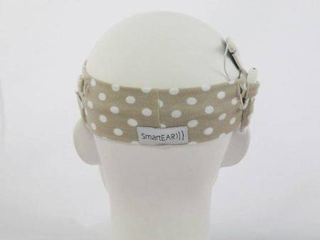 Universal cotton headband - beige with dots